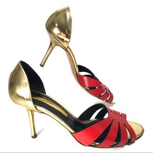 Rupert Sanderson Red Gold Leather Heel Sandals, 8